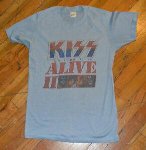 RaRe-1977-78-KISS-vintage-rock-metal-concert-tour-t-shirt-M-70s-Gene-Simmons