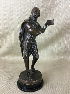 Bronzo Antico Figura William Shakespeare Vittoriano Statua Scultura