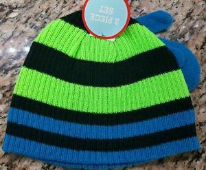 2b7c64305d9 Winter Hat Mitten Set Toddler Boy s Neon Green Blue Striped ...