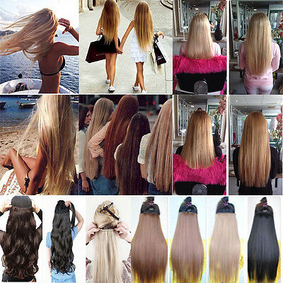 3/4 Full Head Clip in 17-23 Synthetic Straight Curly Hair Extensions New long KK