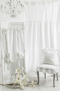 rose queen vorhang gardine 100x250cm volant schal weiss franske landhaus shabby ebay. Black Bedroom Furniture Sets. Home Design Ideas