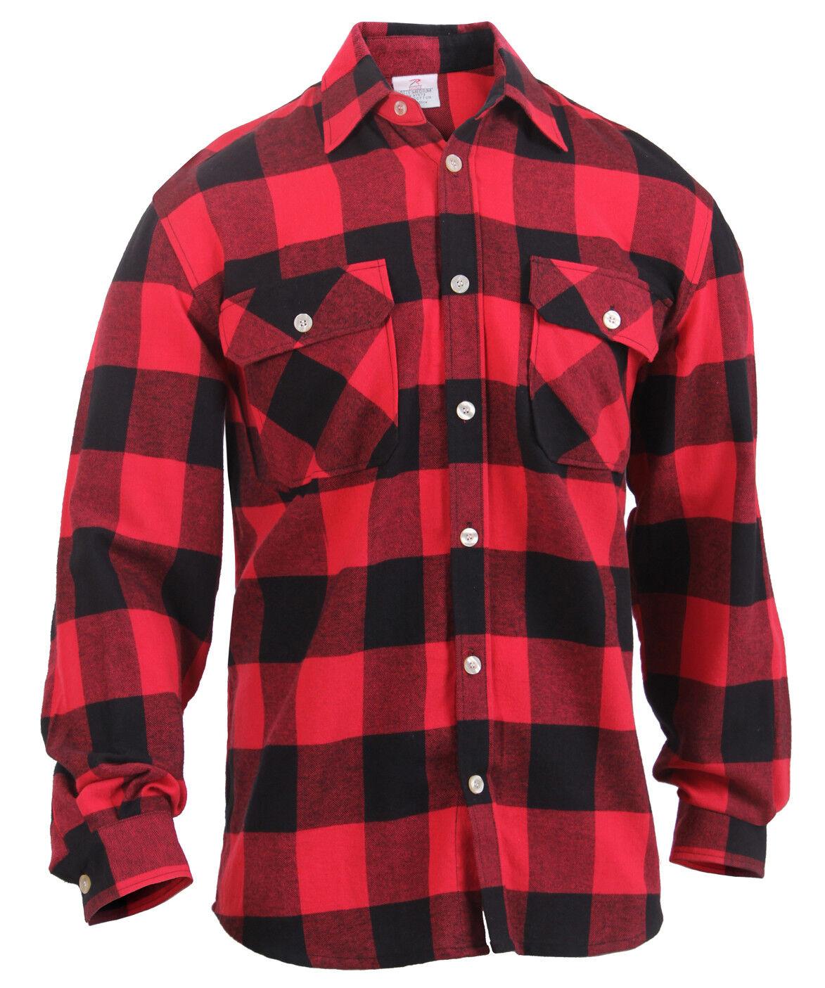 Mens Brawny Red Buffalo Plaid Flannel Shirt Long Sleeve Lightweight redhco 1190