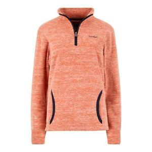 Weirdfish-Ladies-Womens-Nancy-1-4-Zip-Melange-Fleece-Sweatshirt-Mango