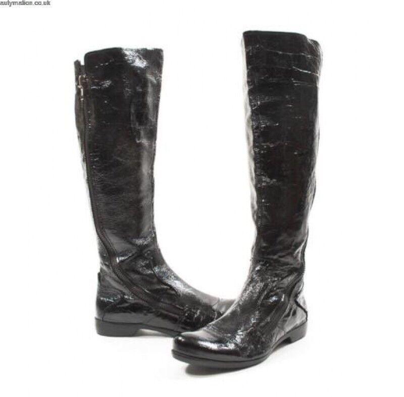 APEPAZZA Oleandro Crinckled Leather Flat Zip Boots Sz. 6.5, $300