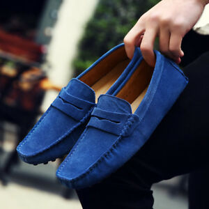 Men-039-s-Driving-Casual-Boat-Shoes-Suede-Leather-Shoes-Moccasin-Slip-On-Loafers