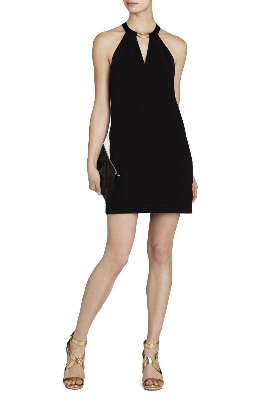 BcbgMaxAzria Kiley schwarz Tuxedo Stripe Halter Dress Größe M