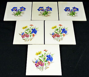 VILLEROY-VB-6x-ALTE-FLIESEN-Fliese-Kachel-BLUMEN-Blumenbuket-handbemalt