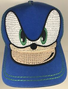 f3c990ee1 Details about Sonic The Hedgehog Cartoon Hat Trucker Blue Cap 90s  Rhinestones Age 14+