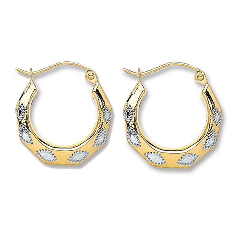 9ct gold Patterned Hoop Creole Earrings with White gold Inlay