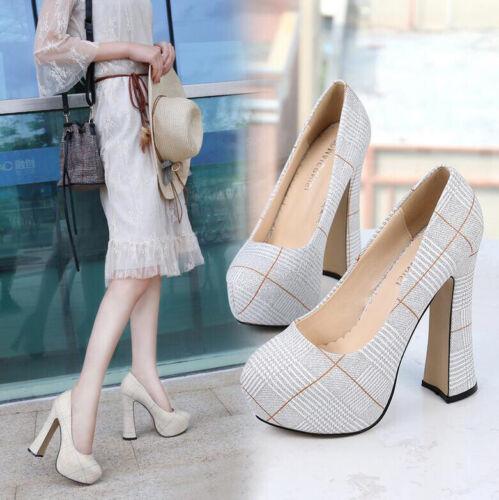 Fashion Women Platform High Blcok Heels Ladies Striped Slip-On Wedge Shoes Pumps