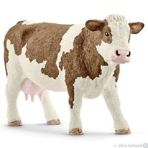 Schleich-13801-Fleckvieh-Kuh-13-cm-Serie-Bauernhoftiere