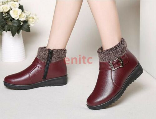 Chic Winter Warm Fur Lined Flats Casual Women Ankle Snow Boots Cotton Shoes N-70