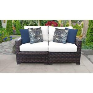 Details About Kathy Ireland River Brook 2 Piece Wicker Patio Furniture Set 02a In Sail White