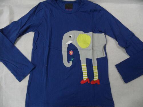 11//12 J TOP ST120 MINI BODEN schönes Langarmshirt Applikation Elefant blau Gr