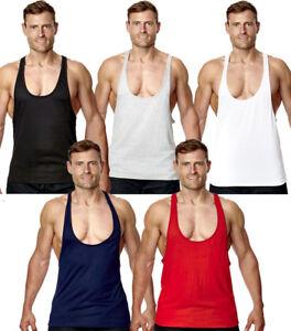 Mens-Gym-Vest-Sports-Stringer-Tank-Top-Relaxed-T-Shirt-Bodybuilding-Racer-Back