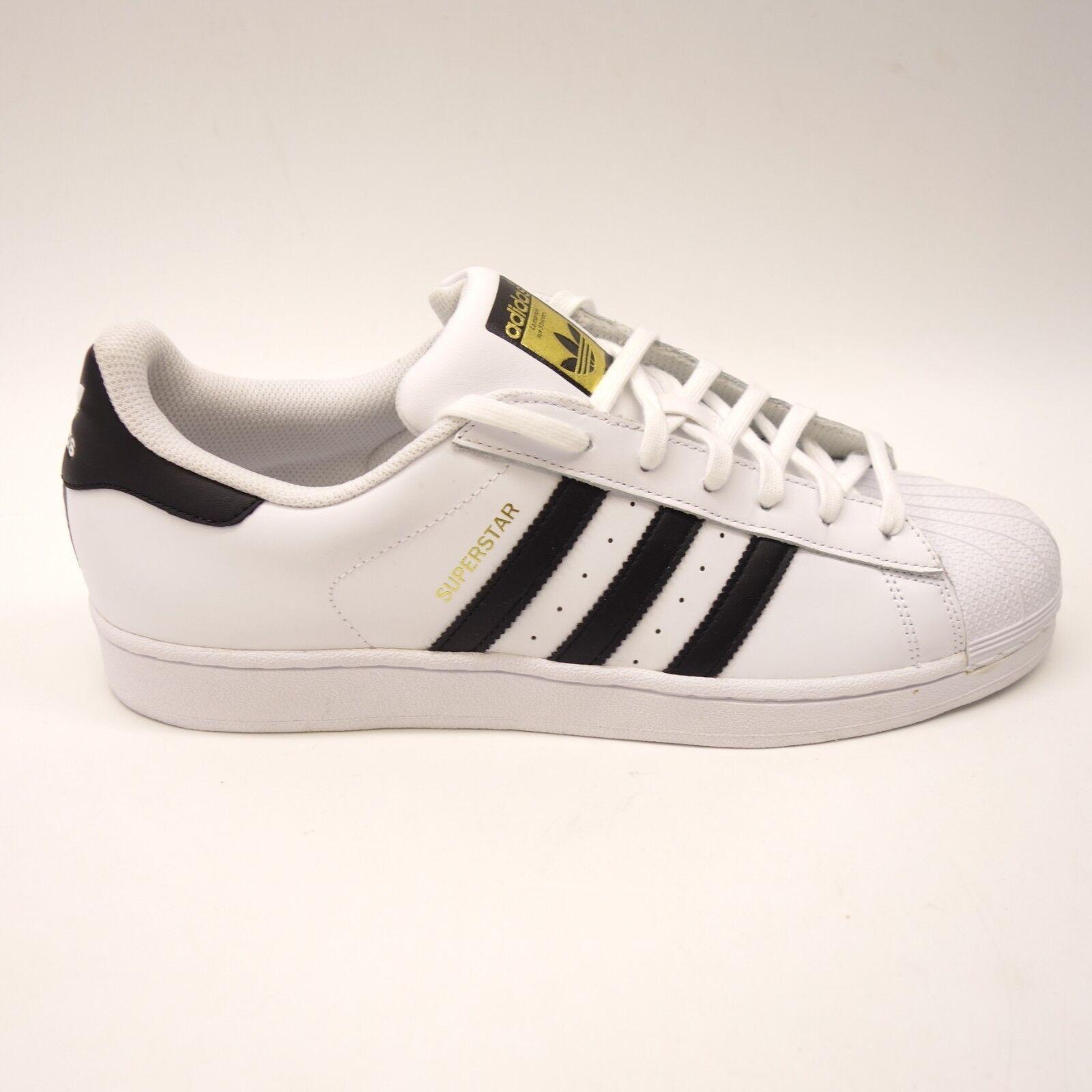 Nuevo Adidas blancoo de Hombre Negro oro Acento Superstar Zapatillas C77124 Talla