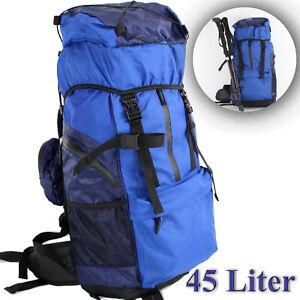 TREKKINGRUCKSACK-Backpacker-Wanderrucksack-45L-RUCKSACK-BLAU-WETTERFEST-ue5ue327