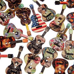EG-50-Pcs-Mixed-Wood-Buttons-2-Holes-Flower-Guitar-Shape-Sewing-Scrapbooking-Be