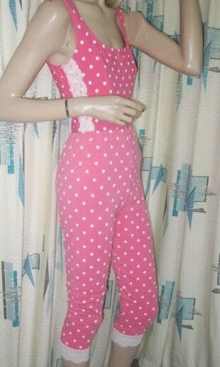 80's Bonnie August Pink White Polka Dot Onsie & Leggins 2 Pc Workout Outfit M