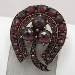 Antique-Victorian-Bohemian-Garnet-Horseshoe-Three-Leaf-Clover-Cluster-Brooch-Pin