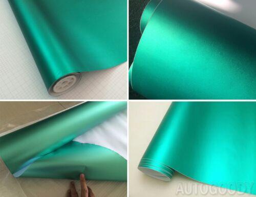 "84/"" x 60/"" Satin Matte Chrome Metallic Teal Green Vinyl Film Wrap Bubble Free"