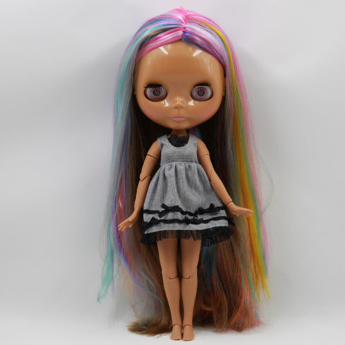 Blythe Nude Doll from Factory long mix hair black joints body TBY336
