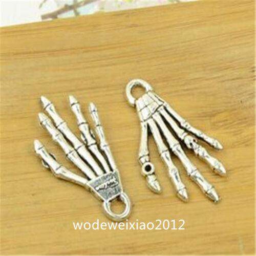10pc Tibetan Silver Charms Skeleton hand Pendant Beads Jewellery Findings JP947