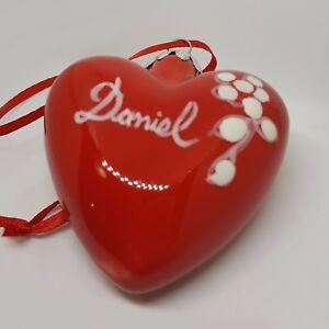 Addobbo-di-Natale-in-ceramica-vietrese-Fatta-a-mano-Cuore-Rosso-Personalizzata