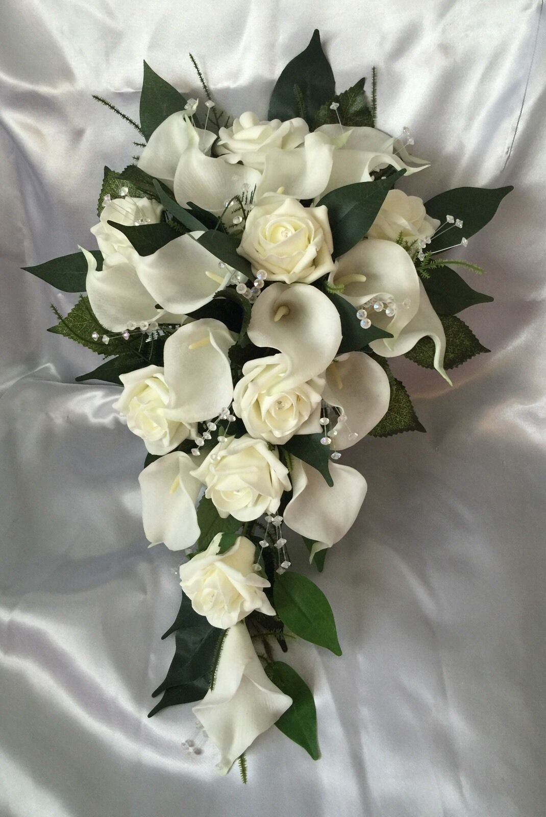mariage FFaibleERS IVORY CALLA LILY ROSE BRIDE SHOWER TEARDROP BOUQUET ARTIFICIAL
