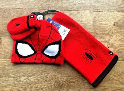 Marks /& Spencer M/&S Hat Scarf Mittens Set Red Knit Spider-Man 6-18 Mths #275