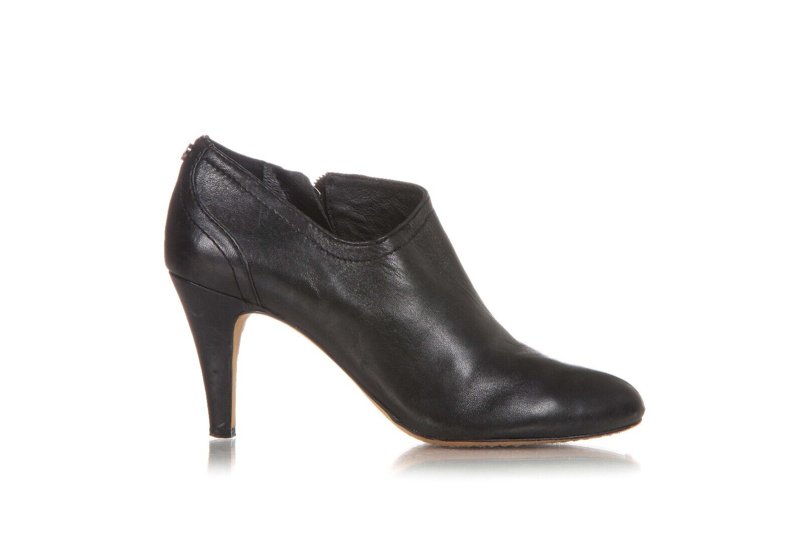 VINCE CAMUTO Ankle Booties US 7 EU 37 Leather Black Heels Round Toe Zip Boots