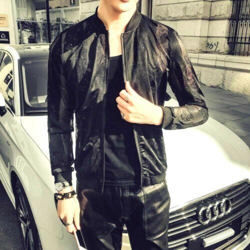 Spring New Men Bomber Jacket Slim Fit Long Sleeve Hollow Jacket Summer Print