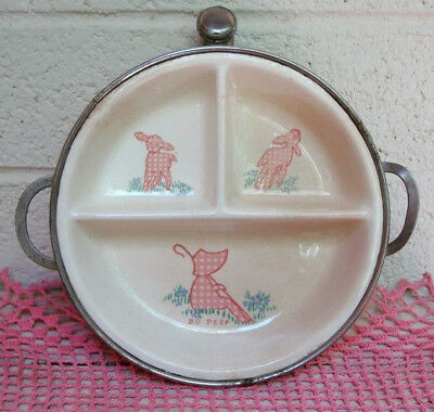 1940s Bo Peep Theme Ceramic/chrome Independent Vintage Baby Food Warmer & Serving Bowl By Excello