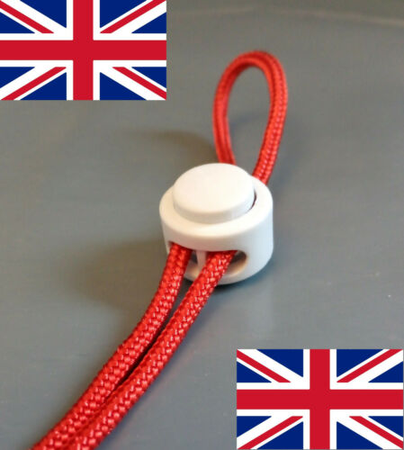 2x Cord Lock Toggle Stopper Clip Clamp Drawstring Buckle Spring Catch White UK