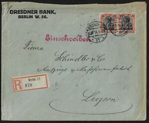 GERMANY-1914-30pf-GERMANIA-PAIR-WITH-DB-PARFINS-DRESDNER-BANK-COVER-REGISTERED-B