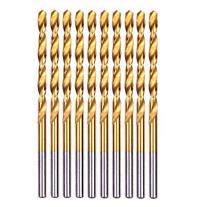 "10-piece 25/64"" Round Shank HSS Titanium Coated Twist Drill Bits for Metal 6971141014918"