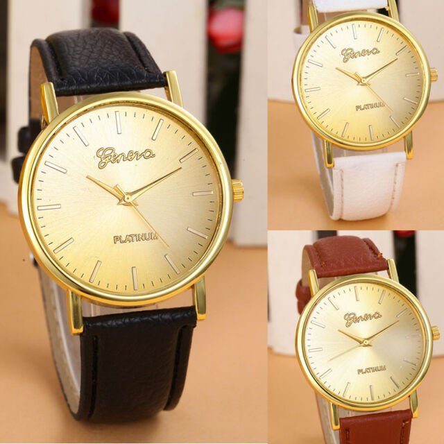 Classic Women Watches Leather Band Analog Quartz Wrist Watches Buckle Watches