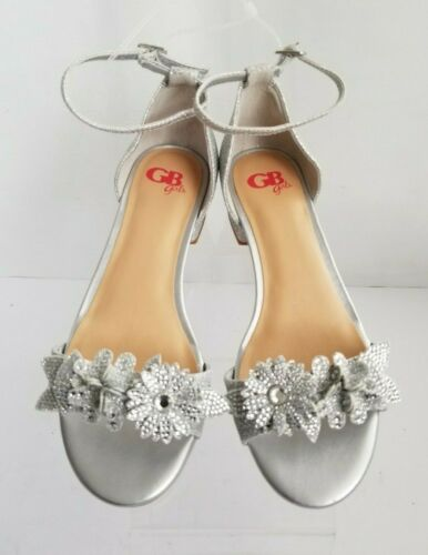 GB Girls Dress Sandals Silver Floral Jeweled Stones Ankle Strap Shoe 2 Sizes NEW