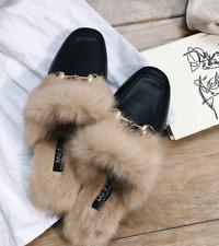 45b51cdde34 Women s Rabbit hair Fur Flat Slip On Lined Mule Loafers Backless Slipers  Shoes