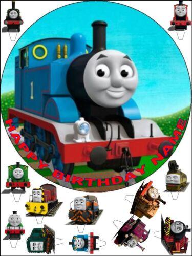 "Edible Round 7,5/"" Thomas Birthday Cake Topper et 12 DEBOUT Toppers"