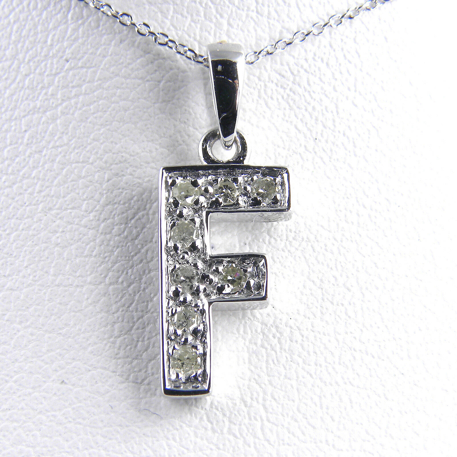 14KT Genuine Diamond Initial  F  With 14KT Chain