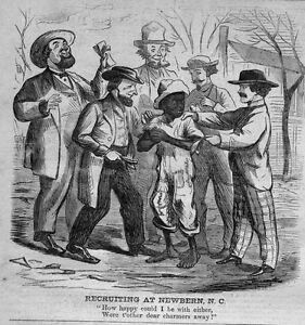 NEGRO CIVIL WAR RECRUITING NEGRO BOY AT NEWBERN NORTH CAROLINA 1864 HISTORY
