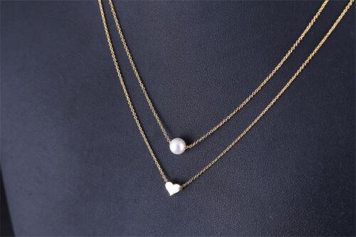 Fashion Women Silver Gold Necklace Pendant Pearl Chain Choker Heart Gift Jewelry