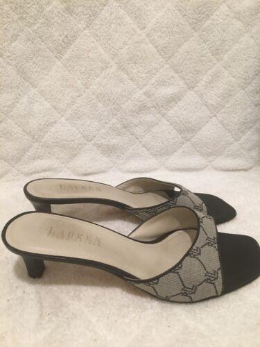 à 7 Sz logo talons enfiler Lauren 5 de Ralph gris cuir Sandales en noir et à chaussures à xxaO1q