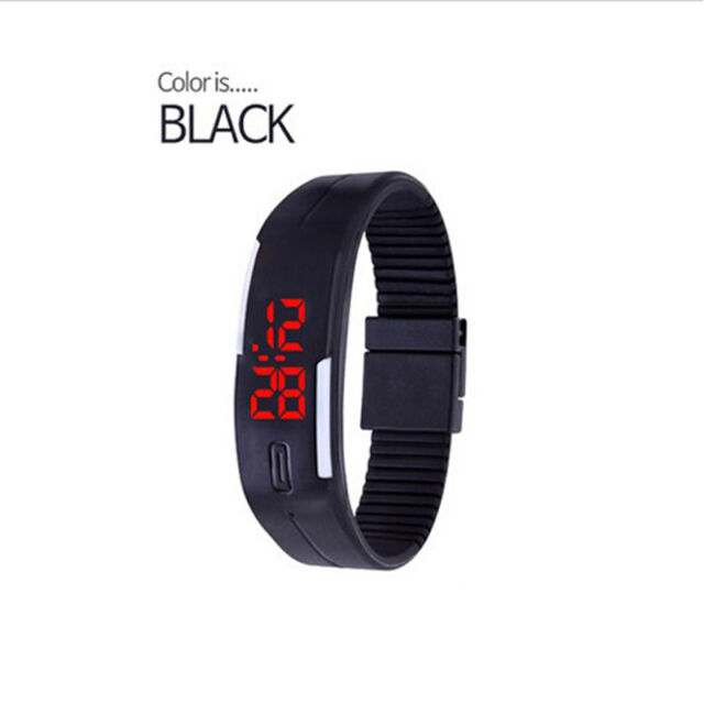 Men Women New Fashion Silicone Red LED Sport Bracelet Touch Digital Wrist Watch