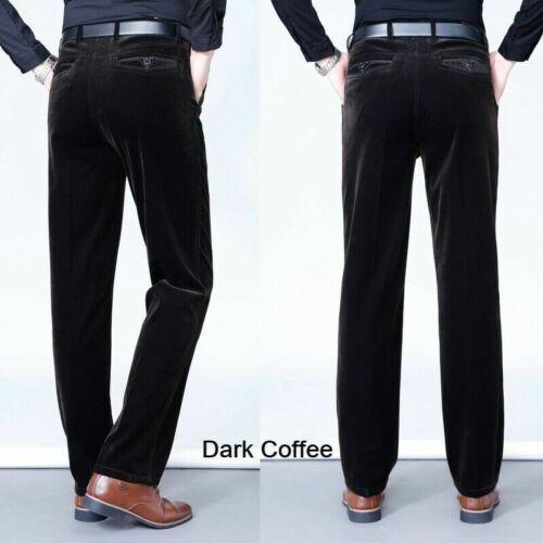 Hommes Épais Velours Cordon Pantalon Jambe Droite Habillé Classique Smart Neuf