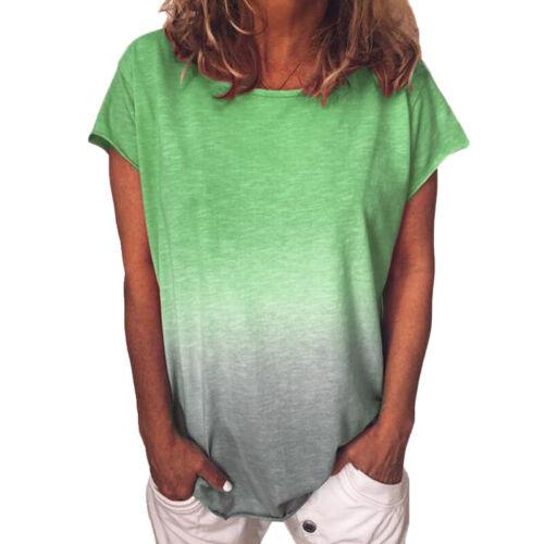 Damen Farbverlauf Bluse Kurzarmshirt Freizeit Baggy Oberteil Übergröße Top Tunic