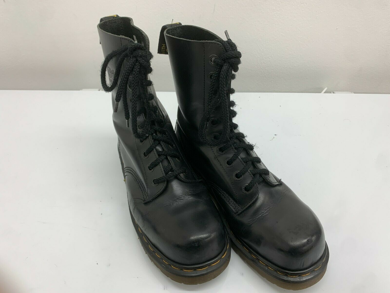 Dr Martens Boots, Black Shiny, Size 8UK,10 Eyelet, Made in England Steel Toe Cap