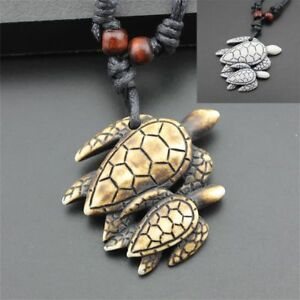Lucky-Black-Imitation-Yak-Bone-Necklace-Jewelry-Carved-Turtle-Pendant-Amulet