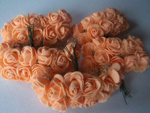 ROSEN im TÜLLMANTEL lachs-apricot !HOCHZEIT DEKO TISCHDEKO 50 kleine FOAM-ROSEN